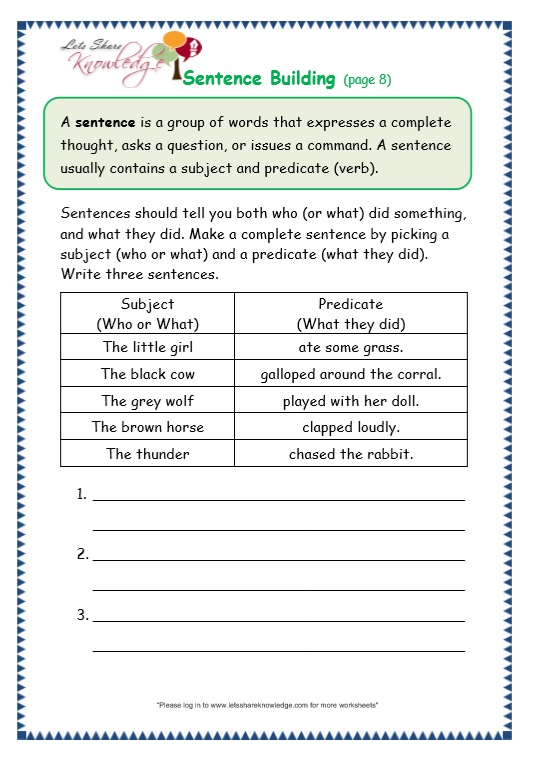Grade 3 Grammar Topic 35: Sentence Building Worksheets ...
