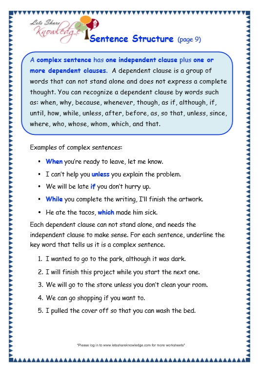 sentence structure worksheet