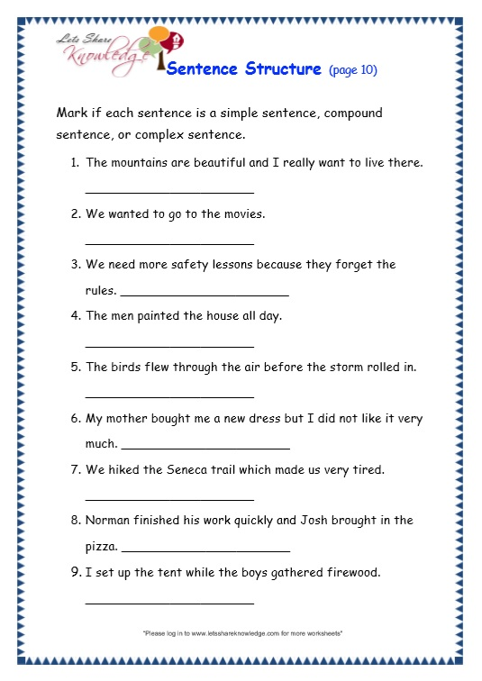 Grade 3 Grammar Topic 36 Sentence Structure Worksheets Lets – Basic Grammar Worksheets
