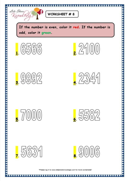 Even and Odd Numbers worksheet