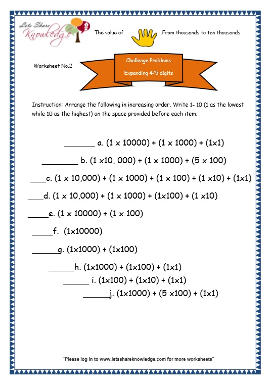 Grade 3 Maths Worksheets: 5 Digit Numbers (2.2 Expanded Form of 4 ...
