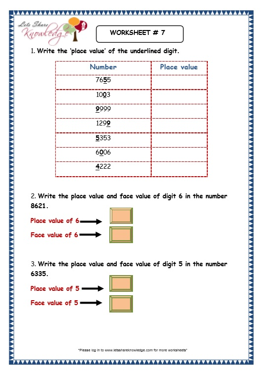 Numeration of 4 Digit Numbers worksheet