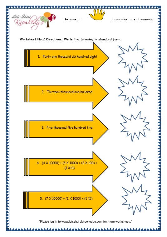 Grade 3 Maths Worksheets 5 Digit Numbers 23 Short Form Of 4 And