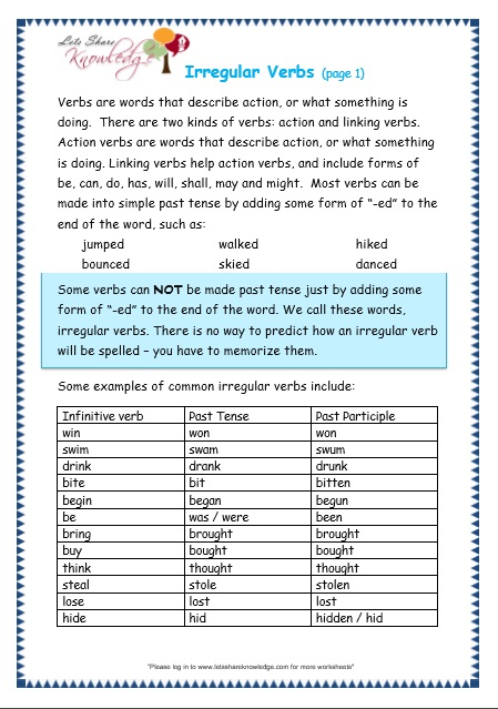 Grade 3 Grammar Topic 39: Irregular Verbs Worksheets - Lets ...