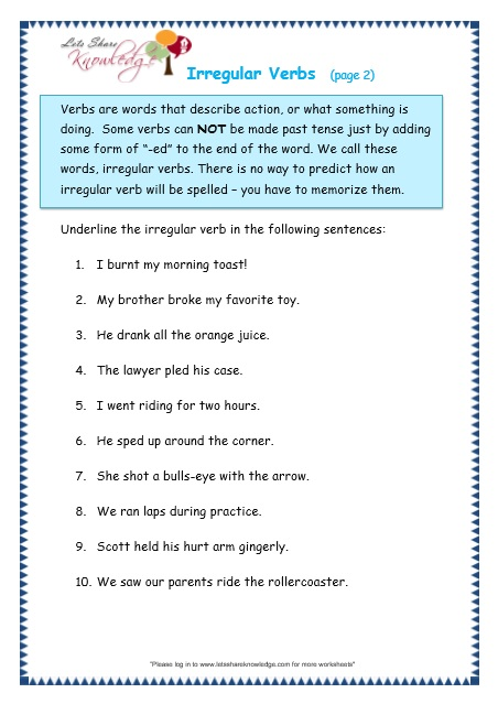 ... verbs worksheets lets share : Irregular Verbs Worksheet Grade 2