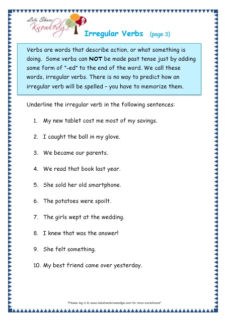 Irregular Verbs Worksheet Grade 3 - english exercises simple past ...