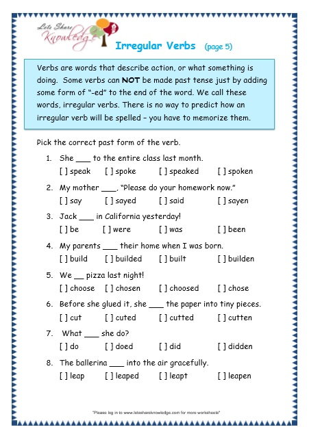 Grade 3 Grammar Topic 39: Irregular Verbs Worksheets - Lets Share ...