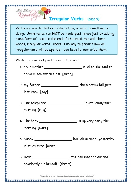 Irregular Verbs worksheet