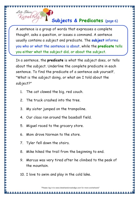 Subjects and Predicates worksheet