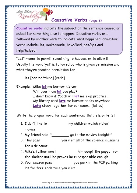 Causative Verbs worksheet