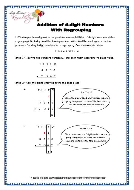 math worksheet : grade 3 maths worksheets addition 3 2 addition of 4 digit  : 4 Digit Addition With Regrouping Worksheets