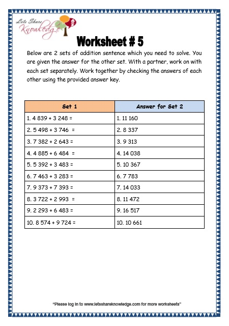 Addition of 4 Digit Numbers With Regrouping worksheet