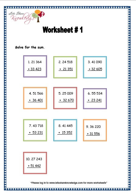 Addition of 5 Digit Numbers Without Regrouping worksheet