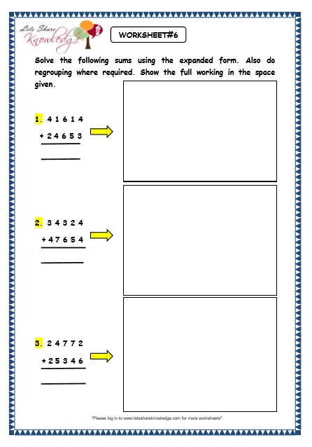 Grade 3 Maths Worksheets Addition 35 Addition Using Expanded Form
