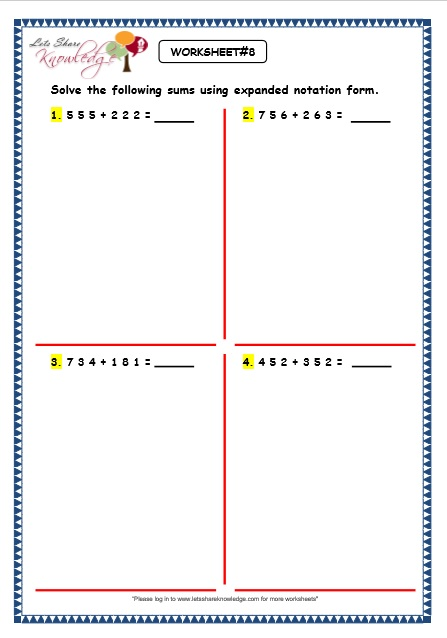 Expanded Form Addition Worksheets - free second grade math worksheets addition subtraction ...