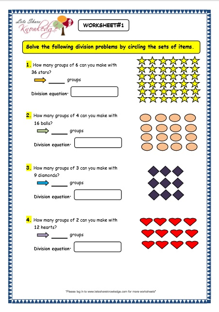 Grade 3 Maths Worksheets: Division (6.2 Division by Grouping) - Lets ...
