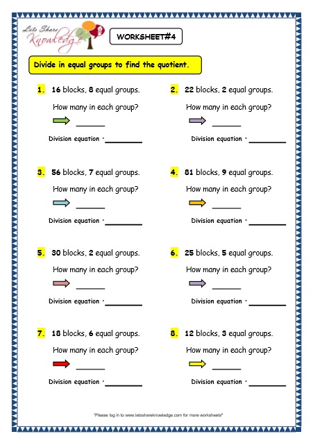 Grade 3 Maths Worksheets Division 62 Division By Grouping Lets