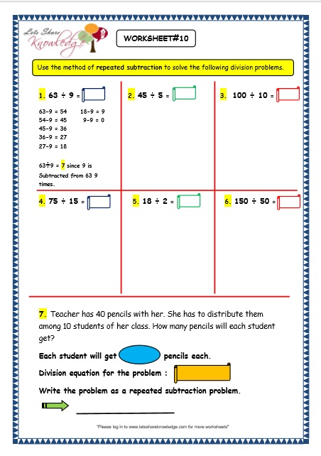 Subtraction Worksheets : division as repeated subtraction ...
