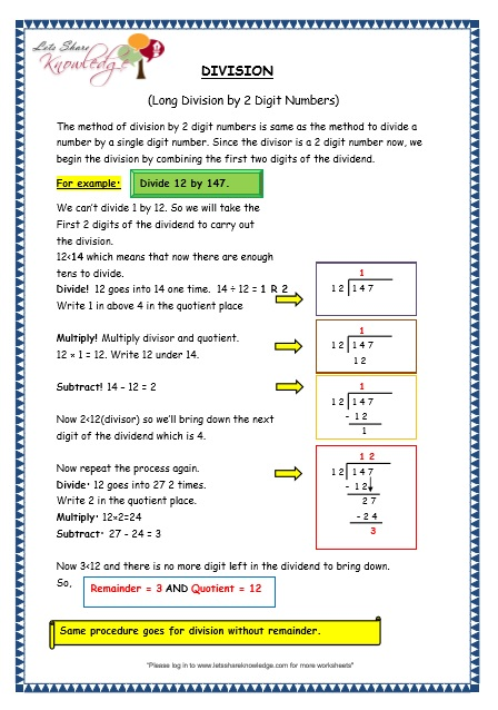 Grade 3 Maths Worksheets: Division (6.5 Long Division by 2 Digit ...