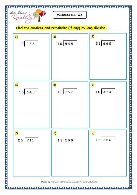 Division worksheets grade 5 no remainders