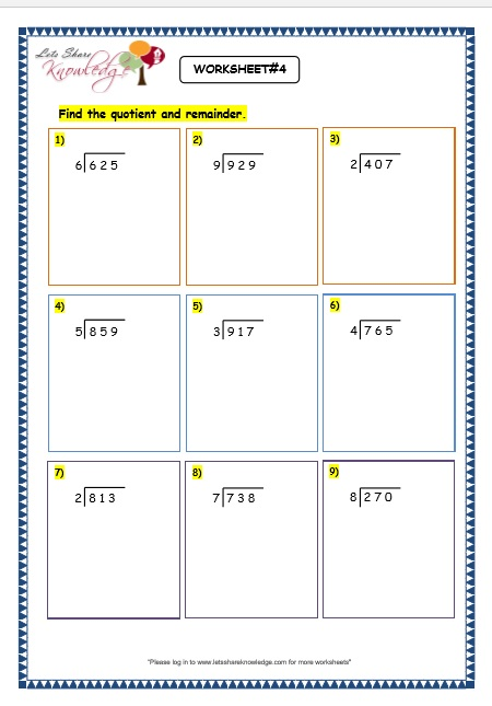 Free printable long division worksheets for grade 3