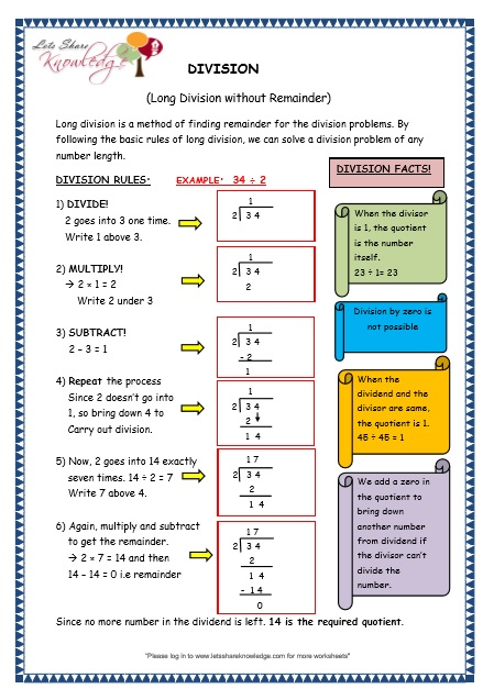 Grade 3 Maths Worksheets: Division (6.3 Long Division Without ...