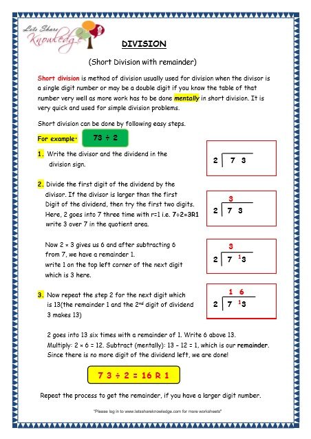 Division worksheets with remainders 5th grade