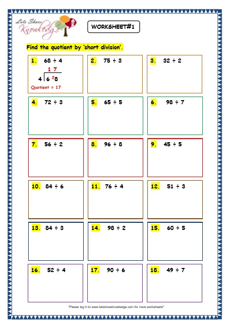 Grade 3 Maths Worksheets: Division (6.6 Short Division without Remainder)