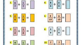 Grade 3 Maths Worksheets: (7.6 Adding Fractions)