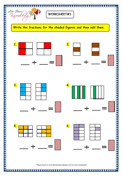 Grade 3 Maths Worksheets: (7.6 Adding Fractions) - Lets Share ...