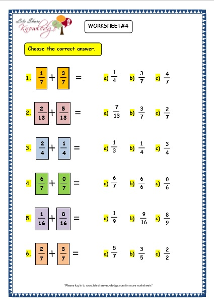 grade  maths worksheets  adding fractions  lets share knowledge adding fractions worksheet