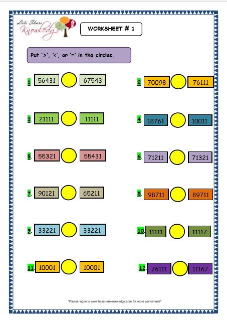 Grade 3 Maths Worksheets 5 Digit Numbers (2.12 Comparing 5 Digit Numbers)