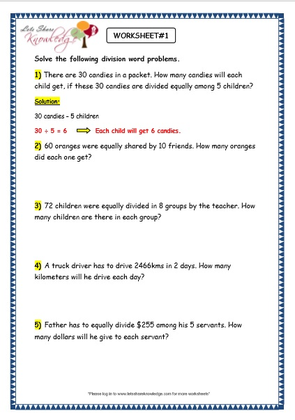 Grade 3 Maths Worksheets: Division (6.9 Division Word Problems ...