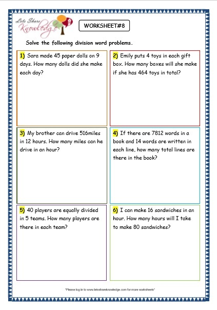 4th grade multiplication word problems worksheets free