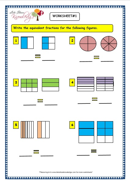 Equivalent fractions worksheets for grade 3