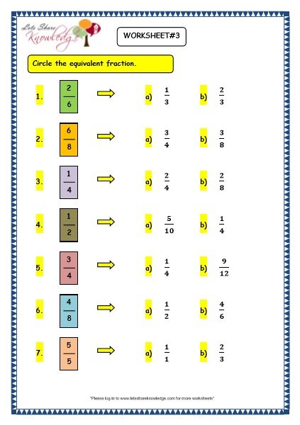 Equivalent Fractions Worksheet Grade 4 Equivalent Fractions