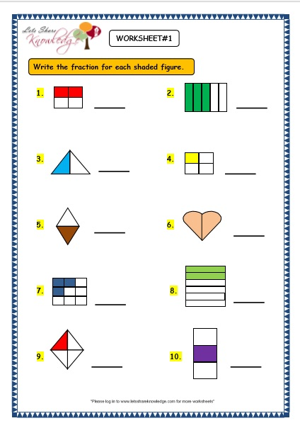 math worksheet : grade 3 maths worksheets  7 1 fractions  lets share knowledge : Grade 3 Maths Worksheets
