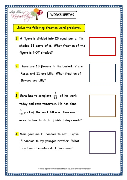 Fractions word problems worksheets