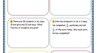 Grade 3 Maths Worksheets: (7.9 Fraction Word Problems)
