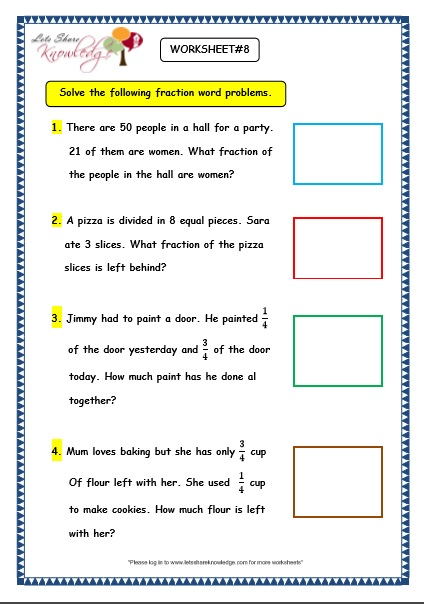 Grade 3 Maths Worksheets: (7.9 Fraction Word Problems) - Lets Share ...