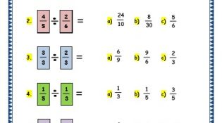 Grade 3 Maths Worksheets: (7.8 Multiplying and Dividing Fractions)