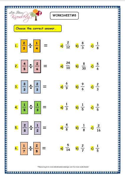 Grade  Maths Worksheets  Multiplying And Dividing Fractions