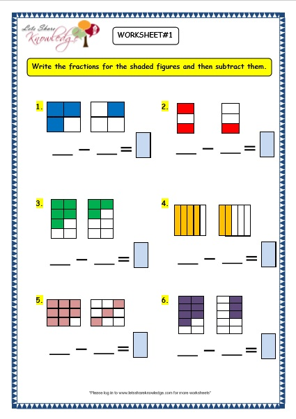 Fraction worksheets for class 3