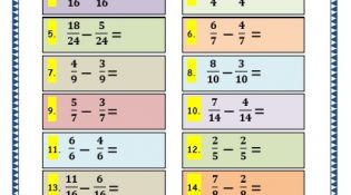 Grade 3 Maths Worksheets: (7.7 Subtracting Fractions)