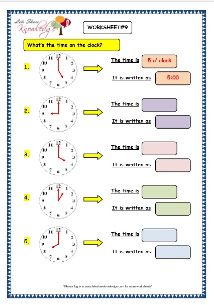 Grade 3 Maths Worksheets: (8.1 Telling the Time in exact Hours)
