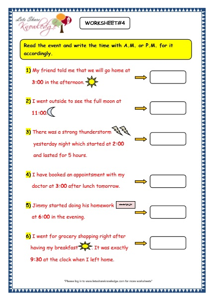 Grade 3 Maths Worksheets: (8.4 Reading the Time in AM and PM)