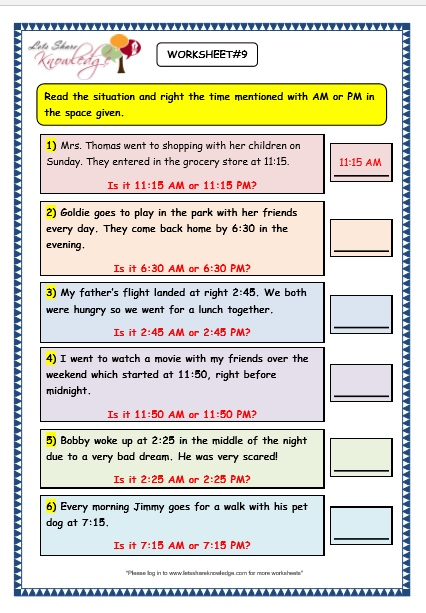 Grade 3 Maths Worksheets: (8.4 Reading the Time in AM and PM ...