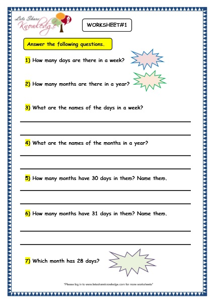 Calendar Worksheet Year : Grade maths worksheets calendars lets share