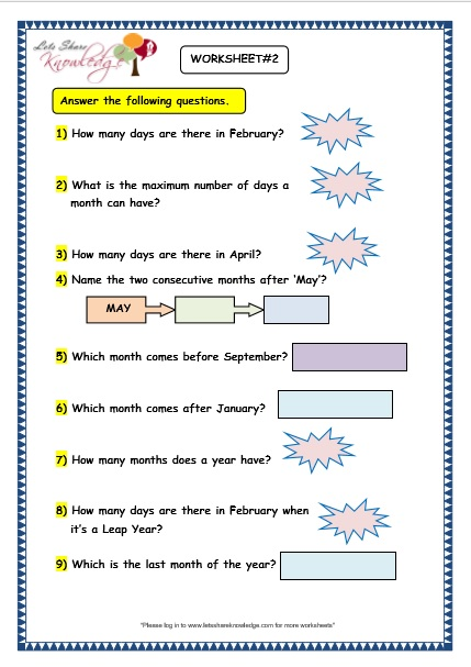 Calendar Activities Grade 2 : Grade maths worksheets calendars lets share