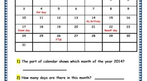 Grade 3 Maths Worksheets: (9.1 Calendars)